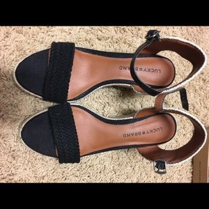 Black Lucky Katereena wedges with braided heel